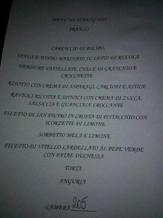 Hotel Favorita: menu