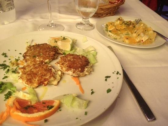 """Osteria da Mariano: """"Fish Balls"""" and Onion Salad, nicely cooked."""