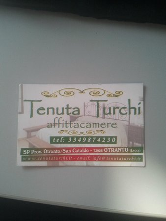 Tenuta Turchi: bigliettino