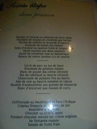 Au Grand Duquesne: et la carte menu étape, que l'on adapte s'il le faut