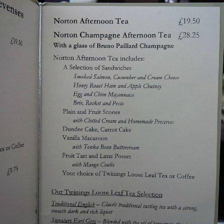 Norton House Hotel & Spa Edinburgh: Norton House Afternoon Tea Menu