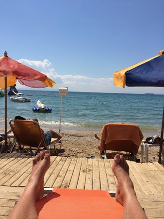 Glyfada Hotel : Beach about 10 min on the tram from the hotel. Bikini beach. €3 for sunbed, a bit dirty but ok