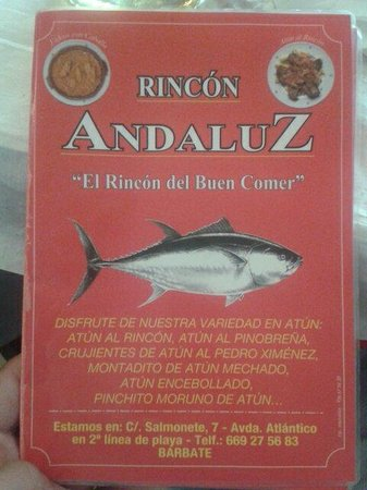 Rincon Andaluz Restaurante: Carta 1
