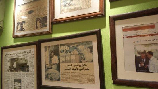 Al-Quds : The falafel wall of fame at al quds falafel:)