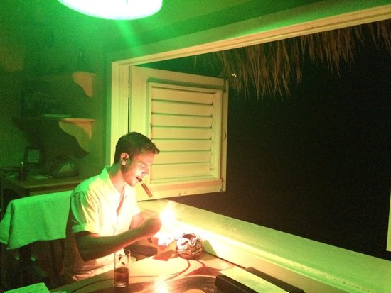 The Caves: Green lighting in our room at night. Perfect for his after dinner cigar.