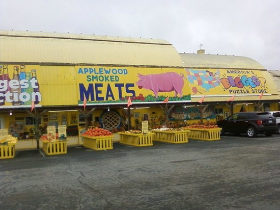 Jim's Apple Farm: meat and soda,and candy  and popcorn,