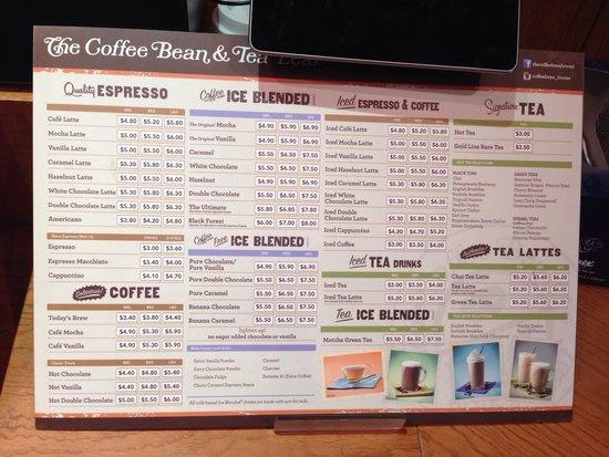 メニュー - Picture of The Coffee Bean & Tea Leaf, Bandar Seri ...