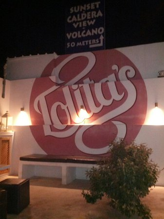 Lolita's Gelato: Back wall of outdoor social seating area