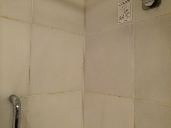 Sheraton Miyako Hotel Tokyo : Dirty tiles with limescale and mould in grout