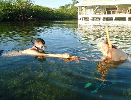 Laguna Azul Eco Lodge: Practicando snorkel frente al hotel