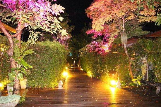 Tango Luxe Beach Villa: Walkway at night