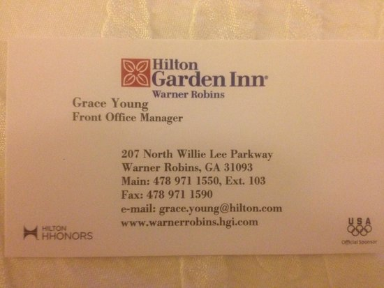 Hilton Garden Inn Warner Robins: The customer is always first. Great lady.