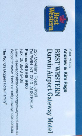 Business Card Picture Of Quality Hotel Darwin Airport Darwin