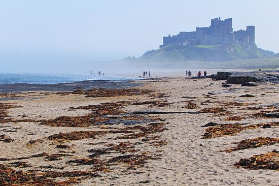 Fairfield Guesthouse: Bamburgh castle and beach on a misty morning