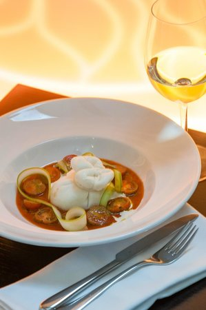 """Apple Bar and Restaurant: Italian «Burrata» in cold tomato soup with """"Balsamic"""""""