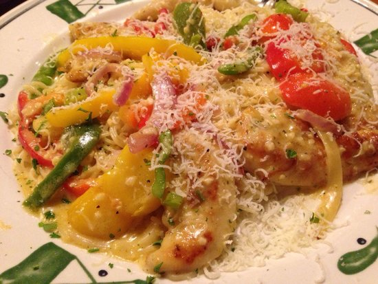 Olive Garden: Chicken Scampi Served Over Angel Hair Pasta. Delicious And  Not Overly Rich