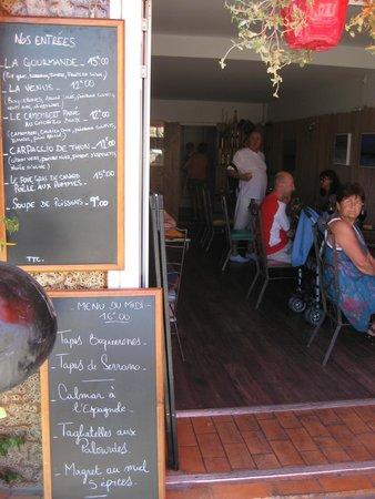 Le Port de Vénus : l'entrée et le menu du jour