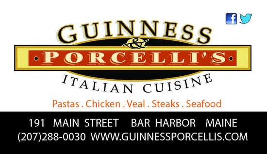Guinness and Porcelli's : Serving Dinner All year long