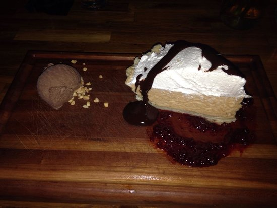 True : Peanut butter pie with chocolate and jelly.