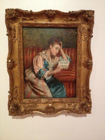 Bellagio Gallery of Fine Art : Mrs. Duffee Seated on a Striped Sofa Reading by Mary Stevenson Cassatt