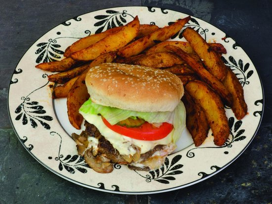 Sarah's Kabob Shop: Mushroom and Swiss Burger