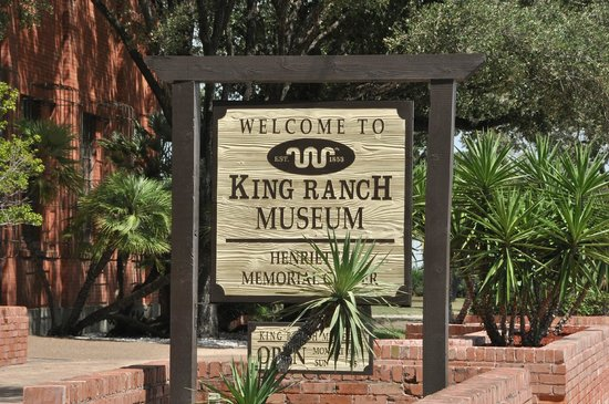 King Ranch Visitor Center: Roadside sign in front of the King Museum near downtown Kingsville.