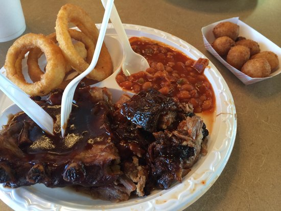 Carter Brother's BBQ & Ribs: Pork ribs, rough chopped BBQ, hush puppies, onion rings, baked beans
