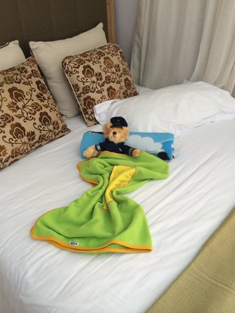 Holiday Village Rhodes: The housemaid used to set my son's bed up like this. So cute