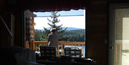 Idabel Lake Resort: View from livingroom facing lake. Stairs to loft on left.
