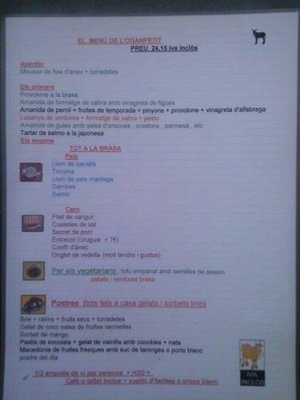 Restaurant L'Oganpetit: Menu 11/09
