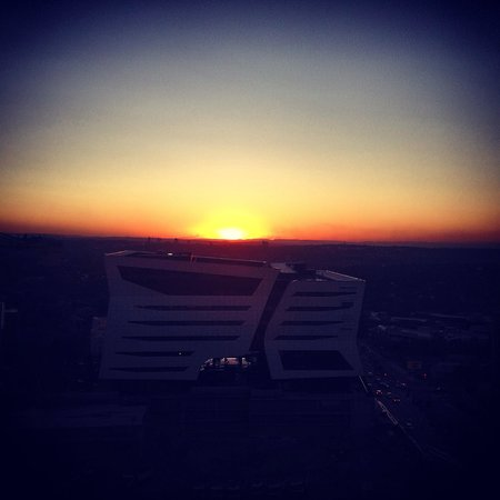 Our Midwinter South African sunset at the amazing Sandton Sun Hotel. The view was just as breath
