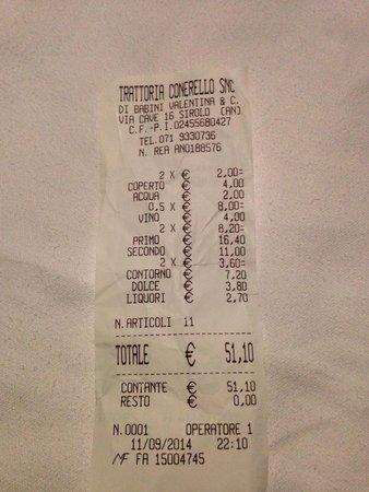 Trattoria Conerello : 2 euro di coperto senza nemmeno aver il bicchiere del vino! Vino in bottiglia con tappo di plast