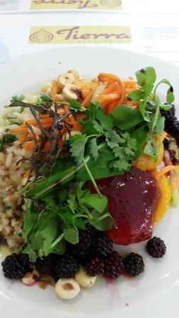 Tierra Kitchen: Butternut squash with fennel and nasturtiun risotto, hazlenut, rowan jelly and pickled blackberr