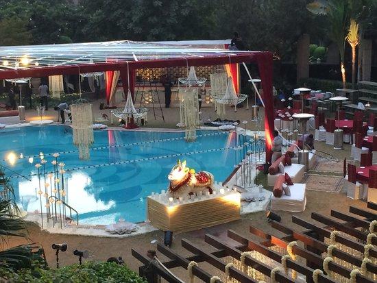 Hyatt Regency Delhi: Pool area being set up for wedding