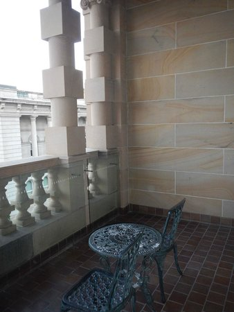 Treasury Hotel & Casino: The balcony is beautiful and very comfortable, great place to meet friends and gather.