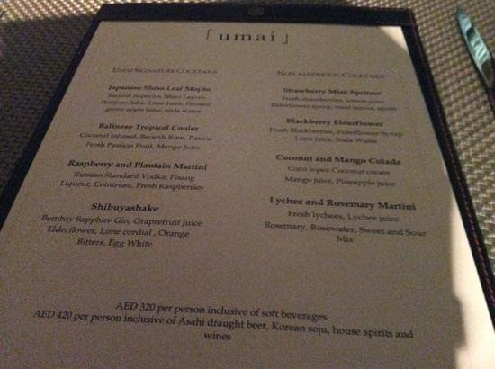 Umai : cocktail list
