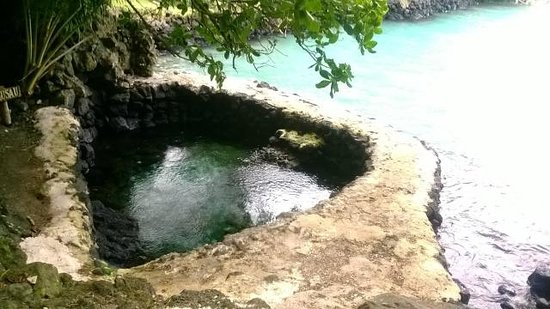 Lusia's Lagoon Chalets : Fresh water rock pool against ocean lagoon