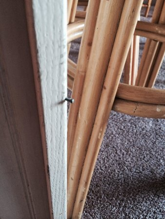Maui Vista Resort: One of 3 nails sticking out at knee level on the corner of the kitchen cabinet.