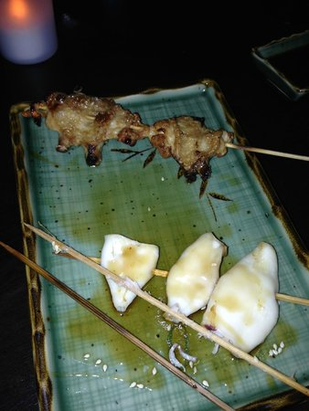 "Umi Sushi & Grill: This so-called ""chicken"" was terrible, fatty, chewy and awful. So was the other seafood item."