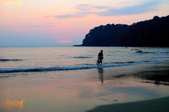 Agonda Beach : A fisherman returning to the shore at sunset in Agonda