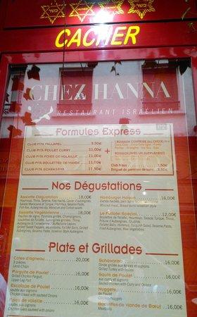 Chez H'Anna : locandina prezzi agosto 2014