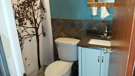 Tumbling Waters Inn: our bathroom in the remodeled room.  Love the colors!
