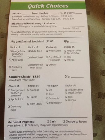 Holiday Inn Tulsa City Center: Here is their breakfast menu. $6 for juice, toast, & fruit seems a bit steep. Plus $2 delivery +