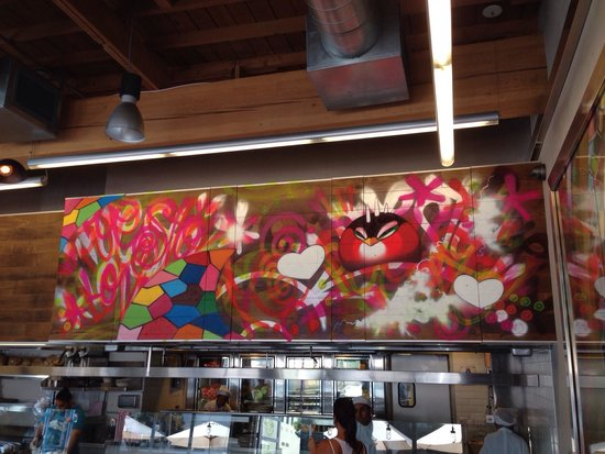 Puesto Mexican Street Food: Artwork above open kitchen