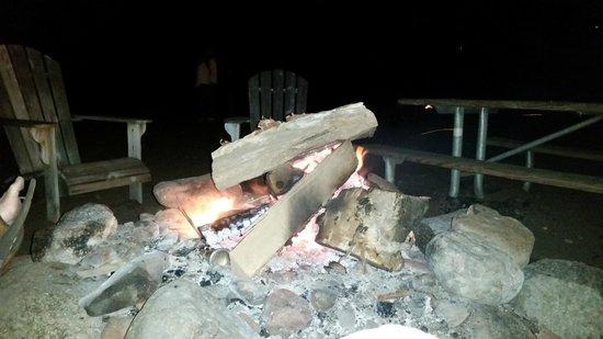 Lutsen Resort on Lake Superior: evening campfire