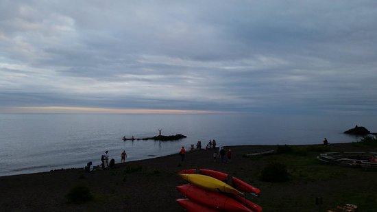 Lutsen Resort on Lake Superior: Dusk on Lake Superior shore at Lutsen