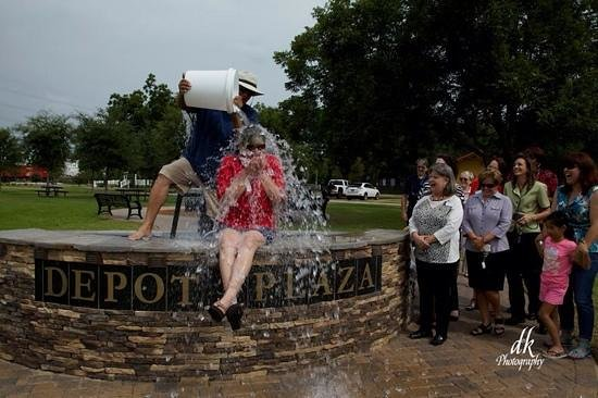 Tomball, TX: ALS Ice Bucket Challenge at the Depot