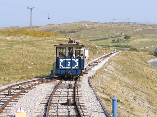 Great Orme Tramway: Going down and meeting the upward tram at the passing loop