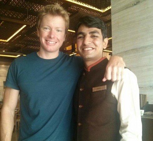 Our wonderful waiter at Hilton Jaipur