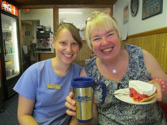 Norske Nook : Laurie and our server Jena showing off her new mug and favorite raspberry sour cream pie...